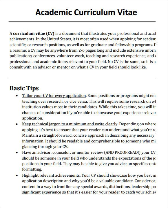 Sample Academic CV Template 8 Download Documents in PDF