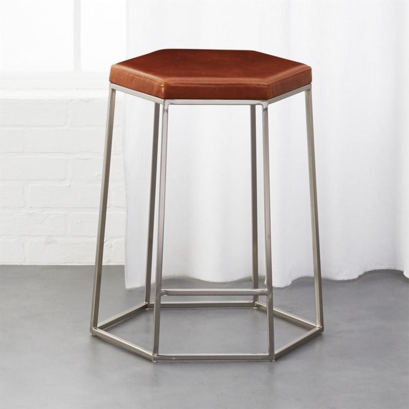 Shop Hex Brown Leather 24 Counter Stool Geometric Seat Sits Counter Height At The Island Peninsula Bre Brown Leather Bar Stools Leather Bar Stools Bar Stools