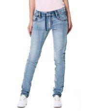 Terranovastyle.com - Pantalone lungo donna in cotone elasticizzato effetto denim. Modello 5 tasche, coulisse in vita