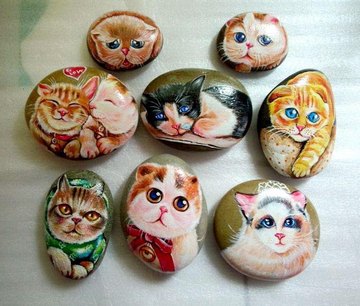 süße katzen auf steinen malen kunstidee