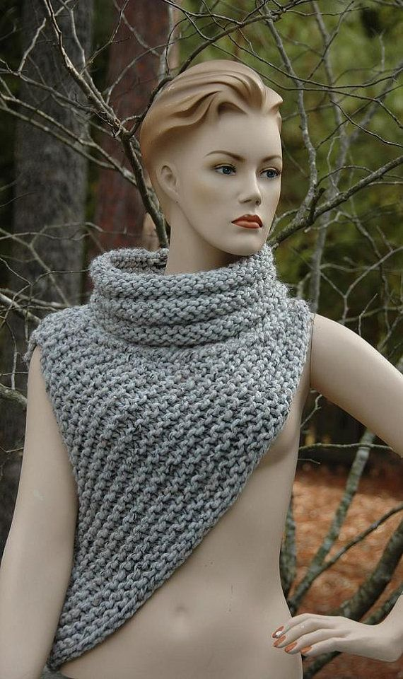 Katniss Cowl, Vest, Poncho Hand Knit in Chunky Wool Blend Neutral ...