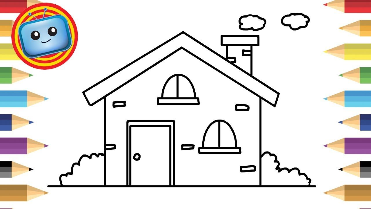 How To Draw A House Colouring Book Simple Drawing Game Animation House Drawing For Kids Easy Drawings Coloring Books