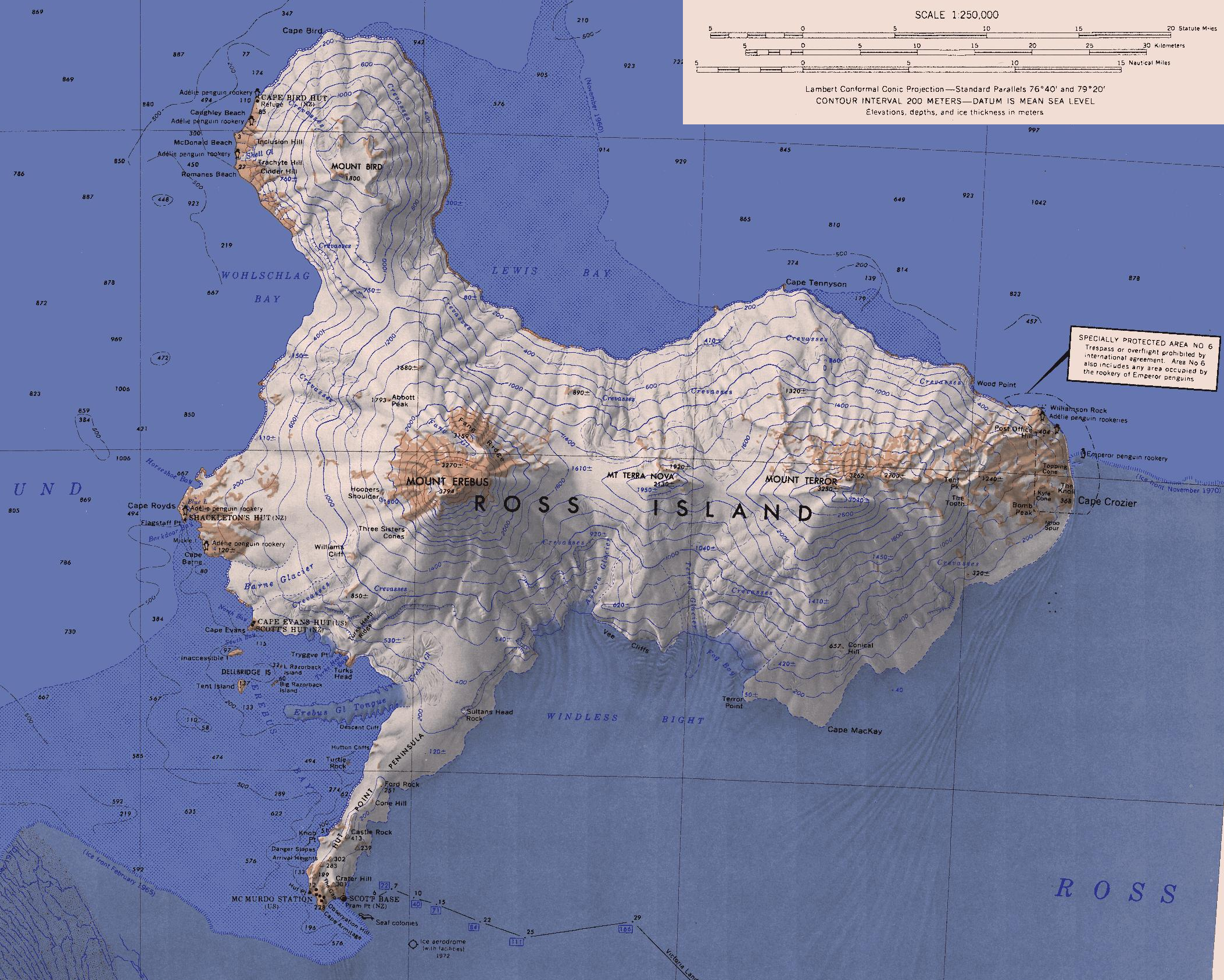 Topographic map of Ross Island Antarctica by US Navy 1972 map