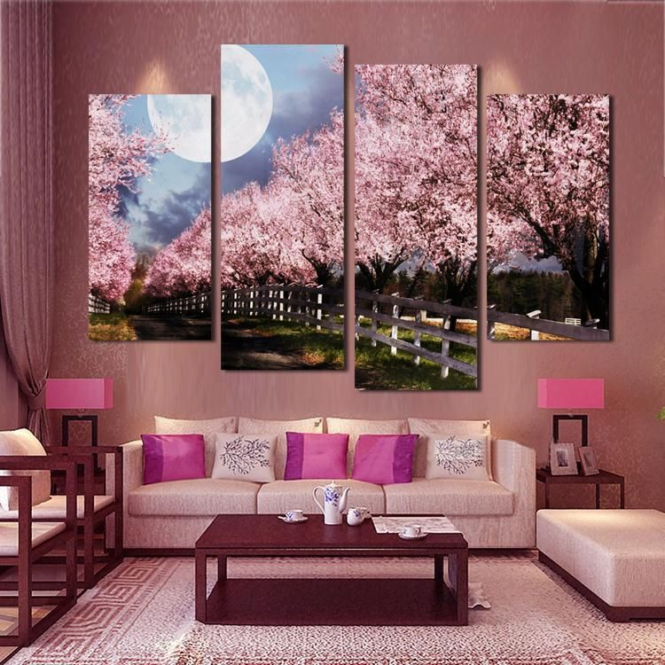 4 piece unframed sakura wall art picture printed canvas on wall paintings id=20216