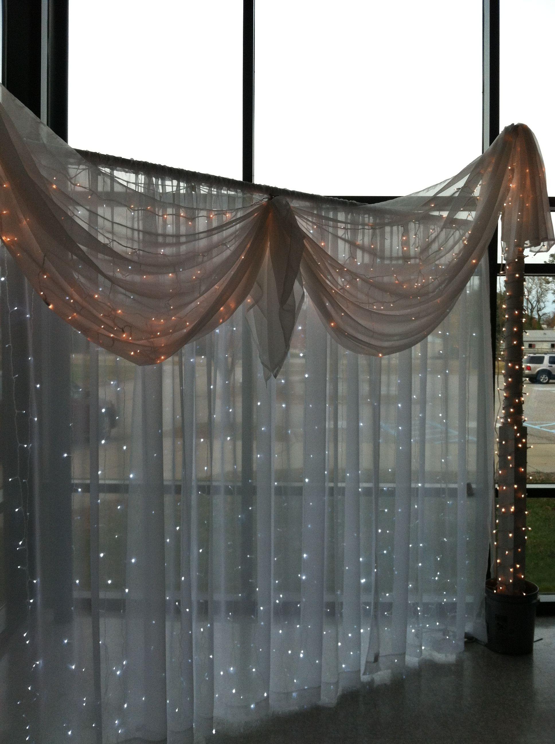 Pin By Elaine Jones On Creatographer Wedding Backdrop Lights Light Backdrop White Sheer Curtains