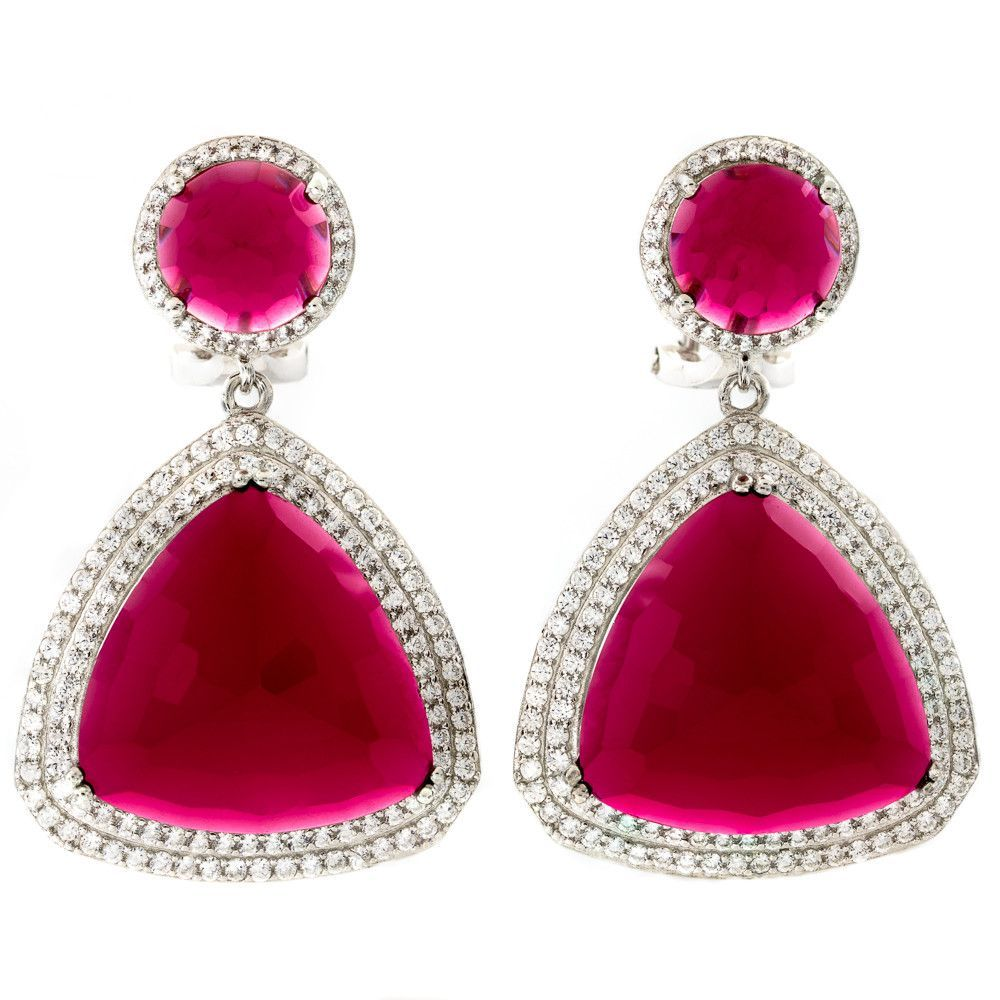 Err sterling silver rhodium plated red ruby crystal drop