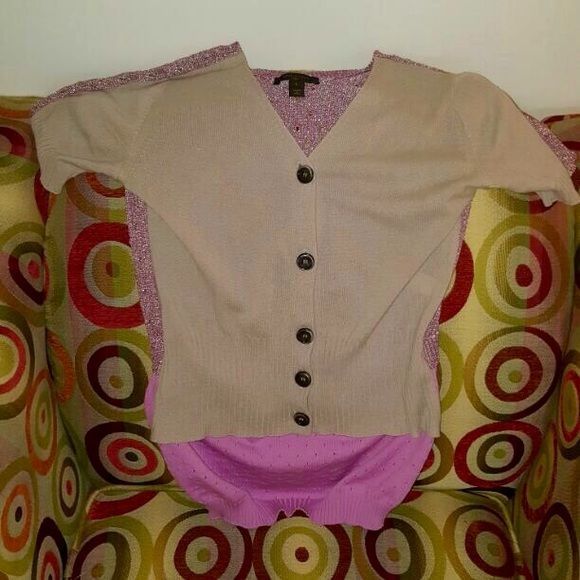 Louis Vuitton cardigan - like new - size L Louis Vuitton Cardigan - size L - fits closer to a Medium - khaki and pink - gorgeous Louis Vuitton Sweaters Cardigans