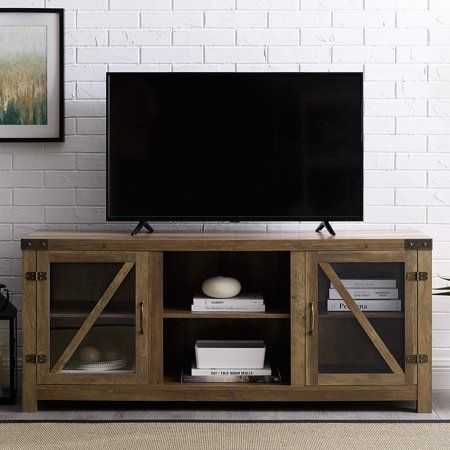 brand new f4038 e6542 Manor Park 58 inch Glass Barn Door TV Stand with Side Doors ...