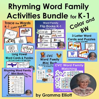 Rhyming word family activities bundle for k 1 in color and bw rhyming word family activities bundle for k 1 in color and bw expocarfo Choice Image
