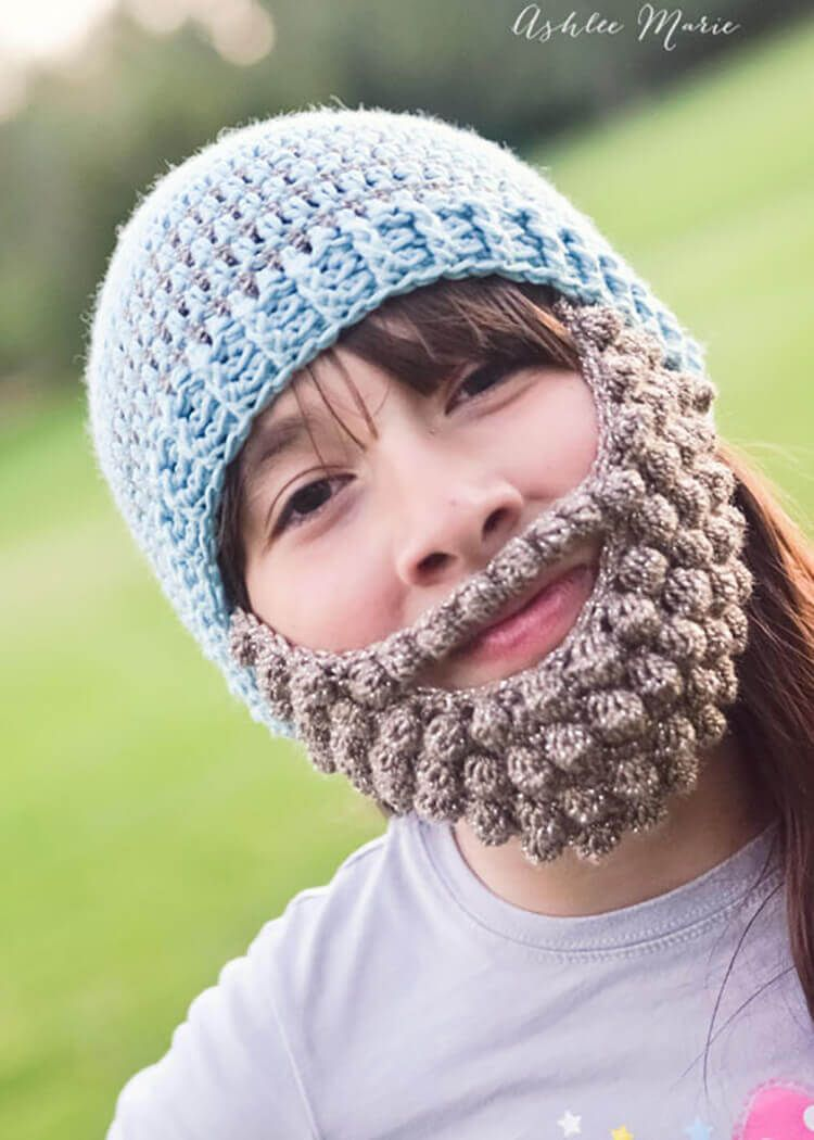 on cold winter days everyone loves a bearded beanie | crafting ...