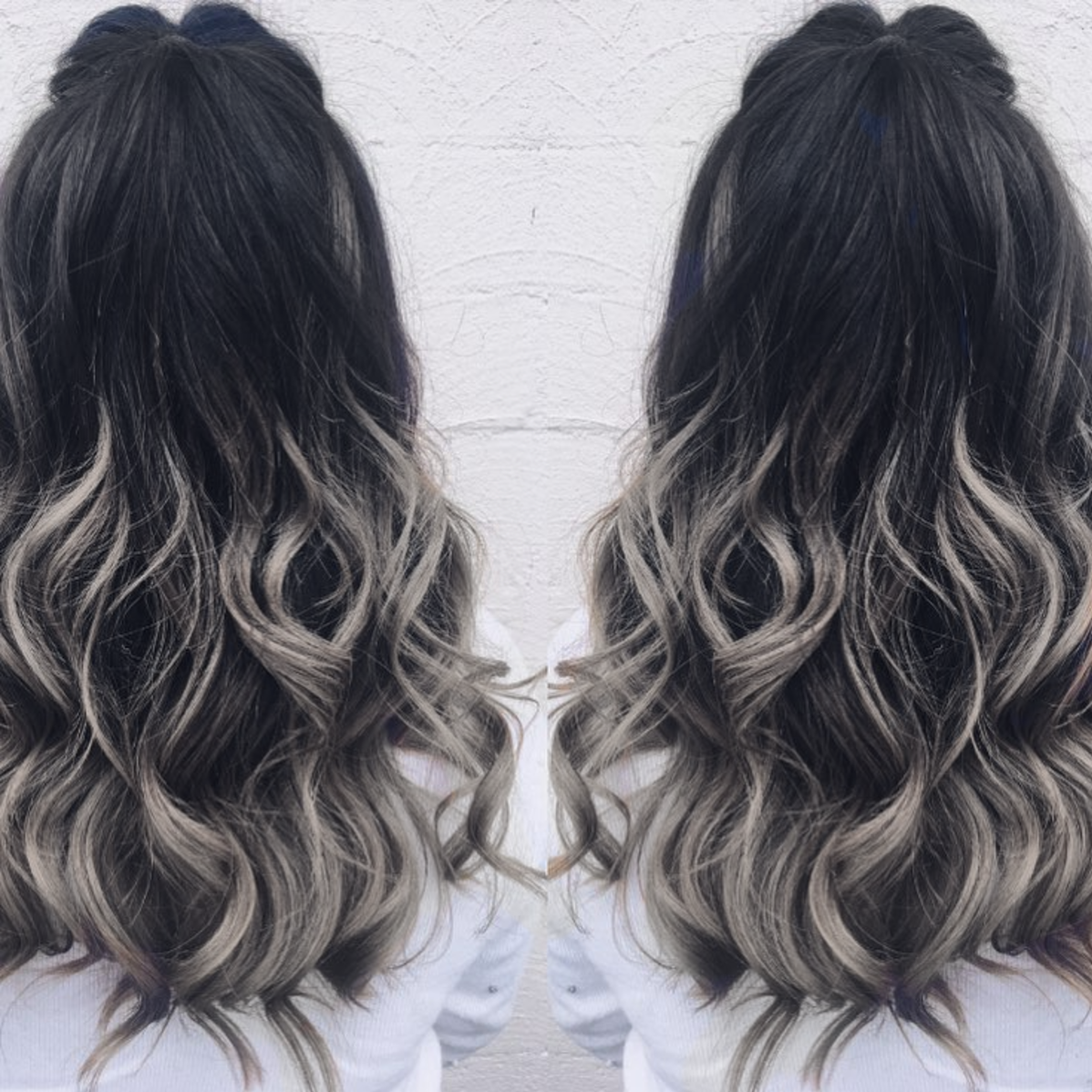 Grey And Dark Blue Bedroom Ideas: Love The Black To Grey Balayage