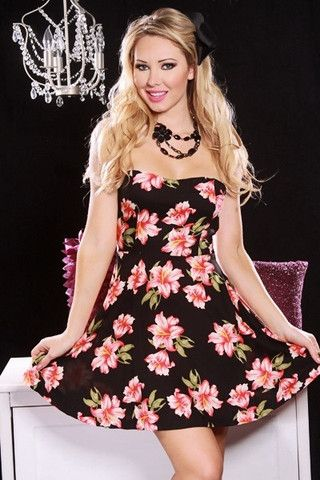 901d0b6bf09 BLACK FLORAL PRINT STRAPLESS SWEETHEART NECKLINE MINI DRESS - viXXen  Clothing