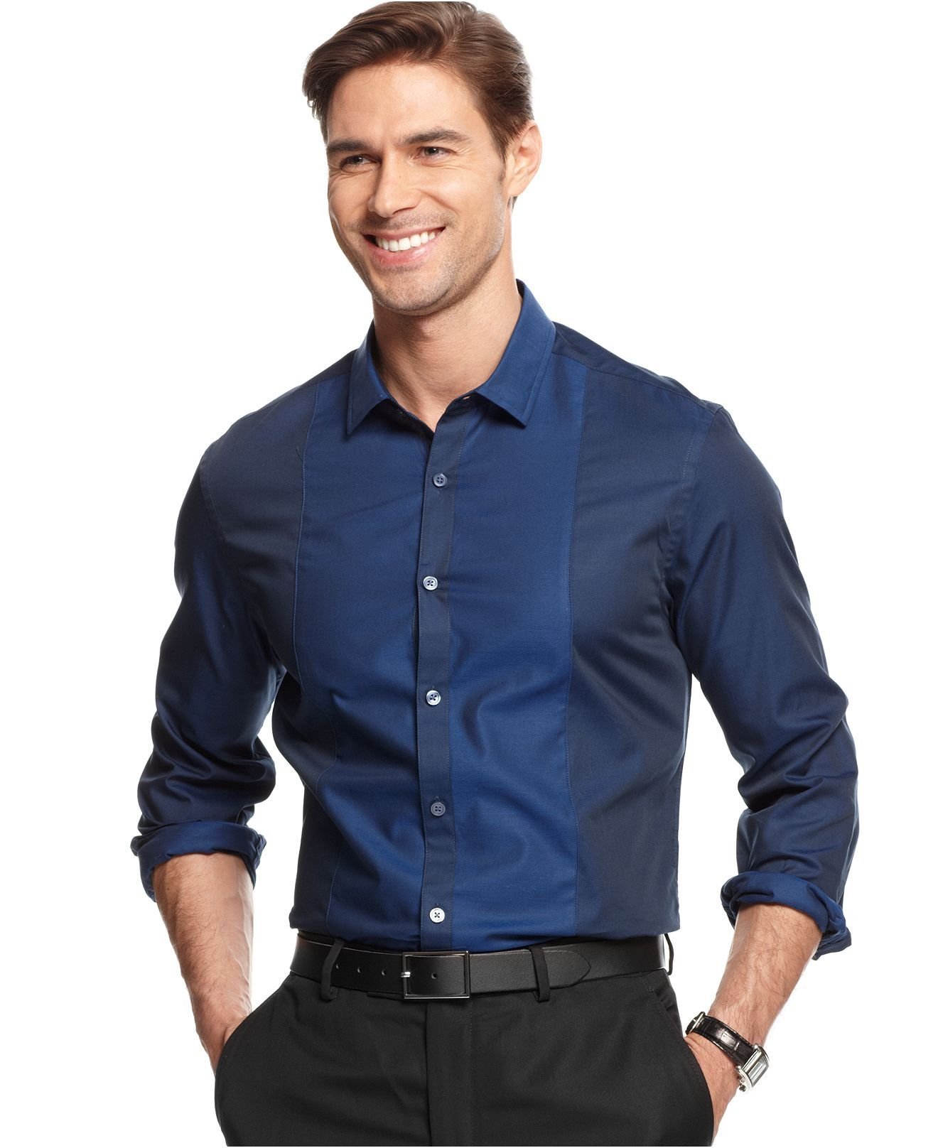 Alfani RED Shirt, Slim-Fit Long-Sleeve Lind Biface Pieced Shirt ...