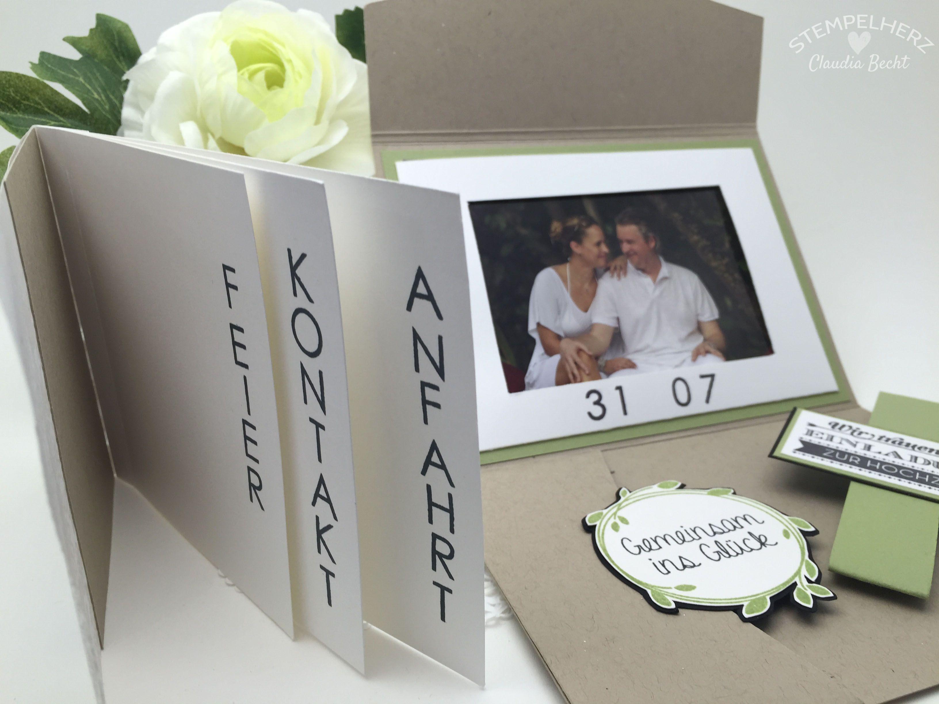 Stampin Up Stempelherz Hochzeit Hochzeitseinladung Einladung Karte  Hochzeitseinladung Wir Trauen