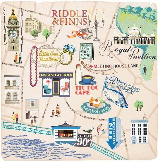Map Of England Brighton.Illustrated Map Of Vintage Shopping Brighton The Lanes Uk