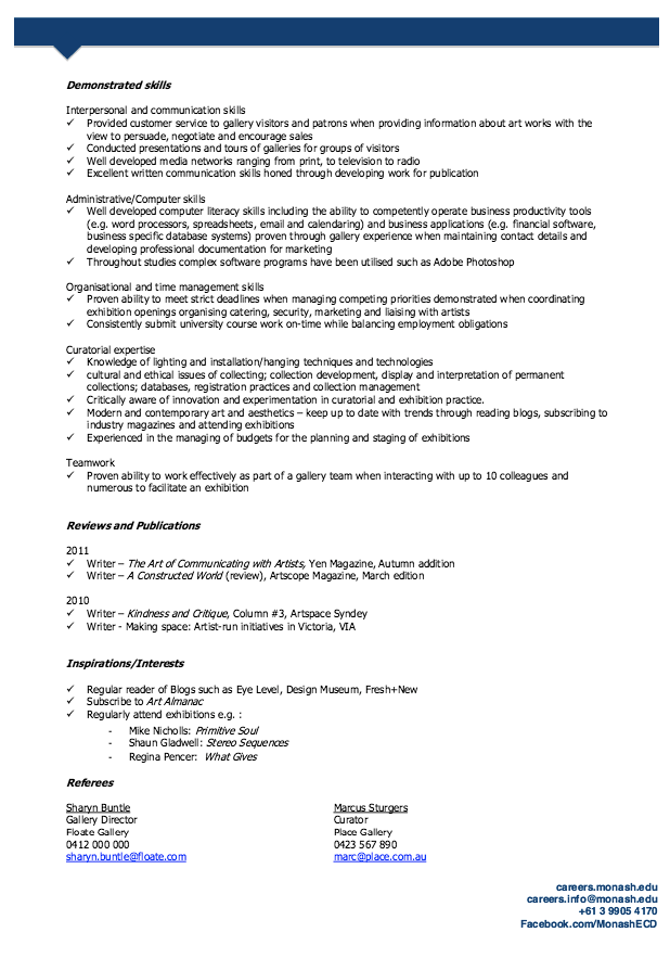 Curator Resume Sample - http://resumesdesign.com/curator-resume ...