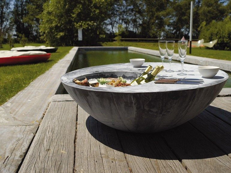 Zinc Garden Side Table With Ice Bucket Zinc Cool Table By Domani