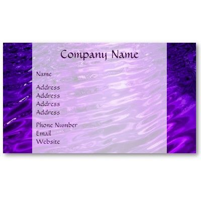 Purple Water Business Cards $19.10