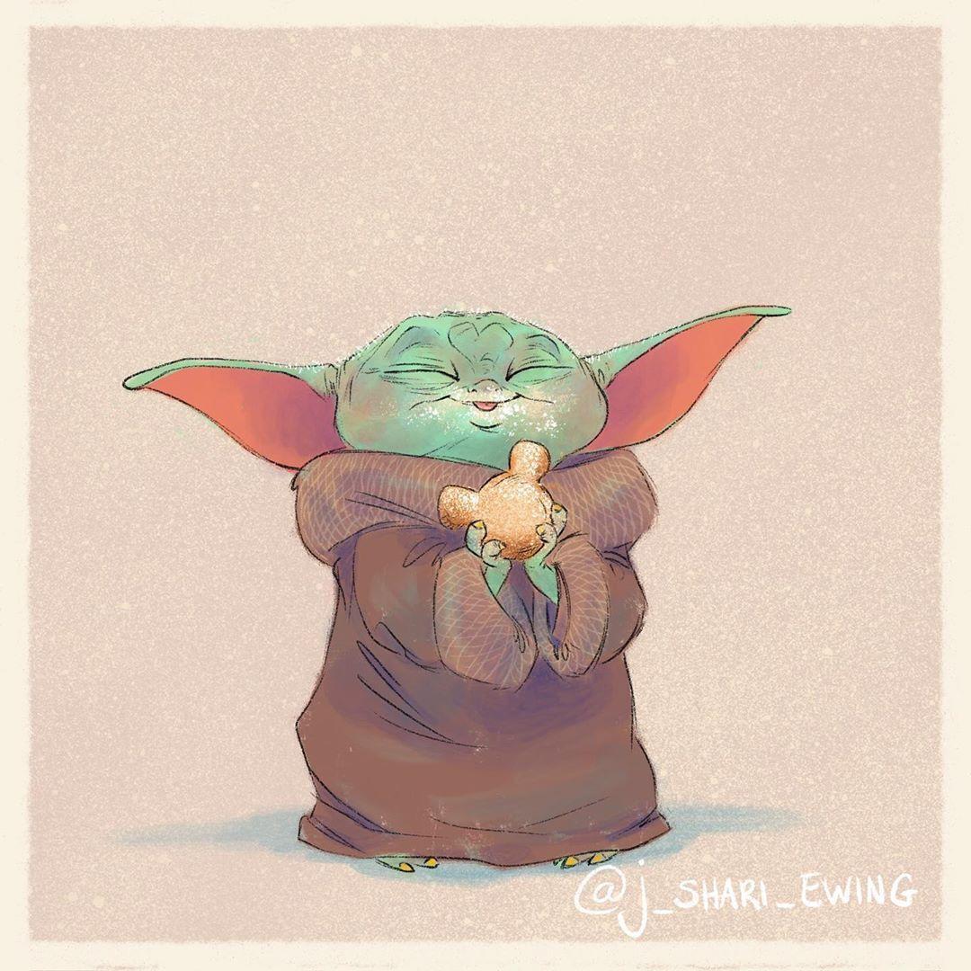 J Shari Ewing On Instagram Baby Yoda Eats 7 Mickey Mouse Beignet So Fluffy So Puffy So Gooooooood This Lil Star Wars Fan Art Star Wars Art Yoda Art