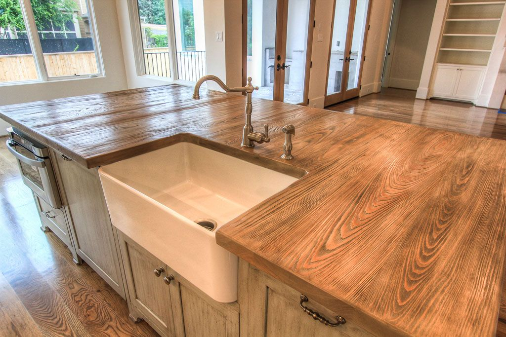 This Cypress Kitchen Island Countertop Is Heavily Wire Brushed To Create A Raised Grain Effect The Color Several Layers Of Dyes And Stains Give It