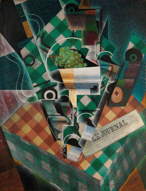 Juan Gris, Nature morte à la nappe à carreaux (Still Life with Checkered Tablecloth), 1915 on ArtStack #juan-gris #art