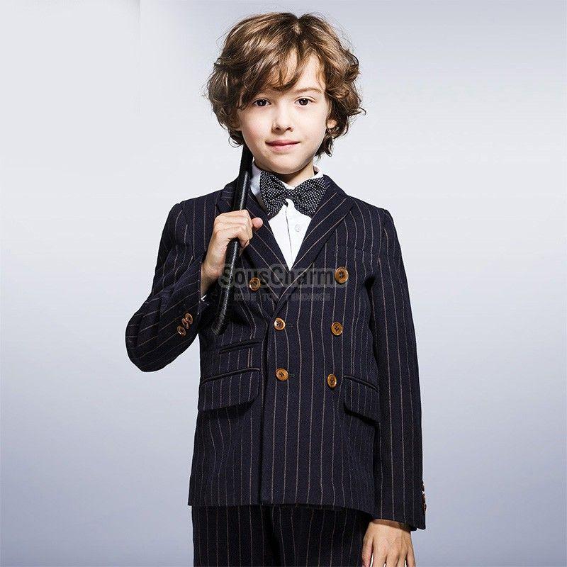 veste gar on enfant costume bleu marine rayures le haut pour c r monie ou soir e mariage. Black Bedroom Furniture Sets. Home Design Ideas