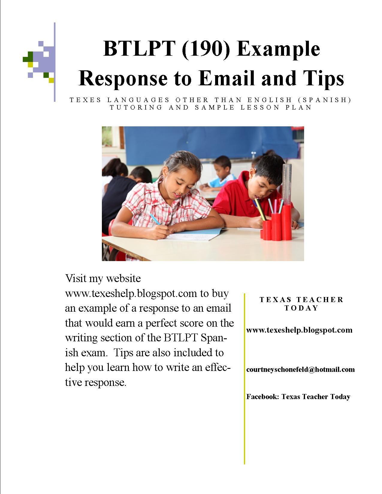 The btlpt spanish exam requires you to write a response to an teacher 1betcityfo Gallery