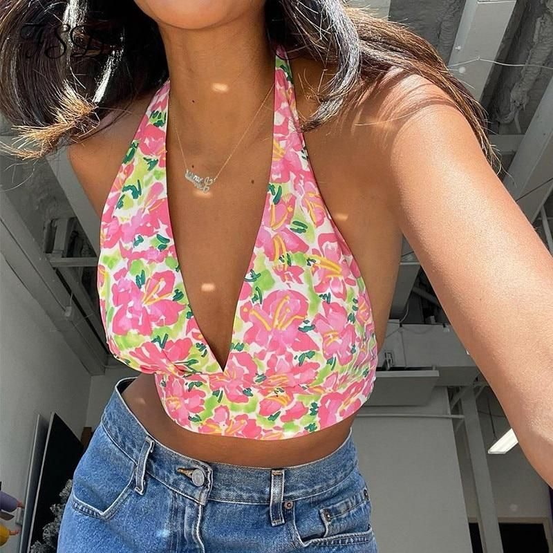 50+FSDA Floral Print V Neck Women Crop Top Halter Neck Backless Bandage Summer 2021 Sexy Y2K Sleeveless Tank Tops Casual   Pink / S