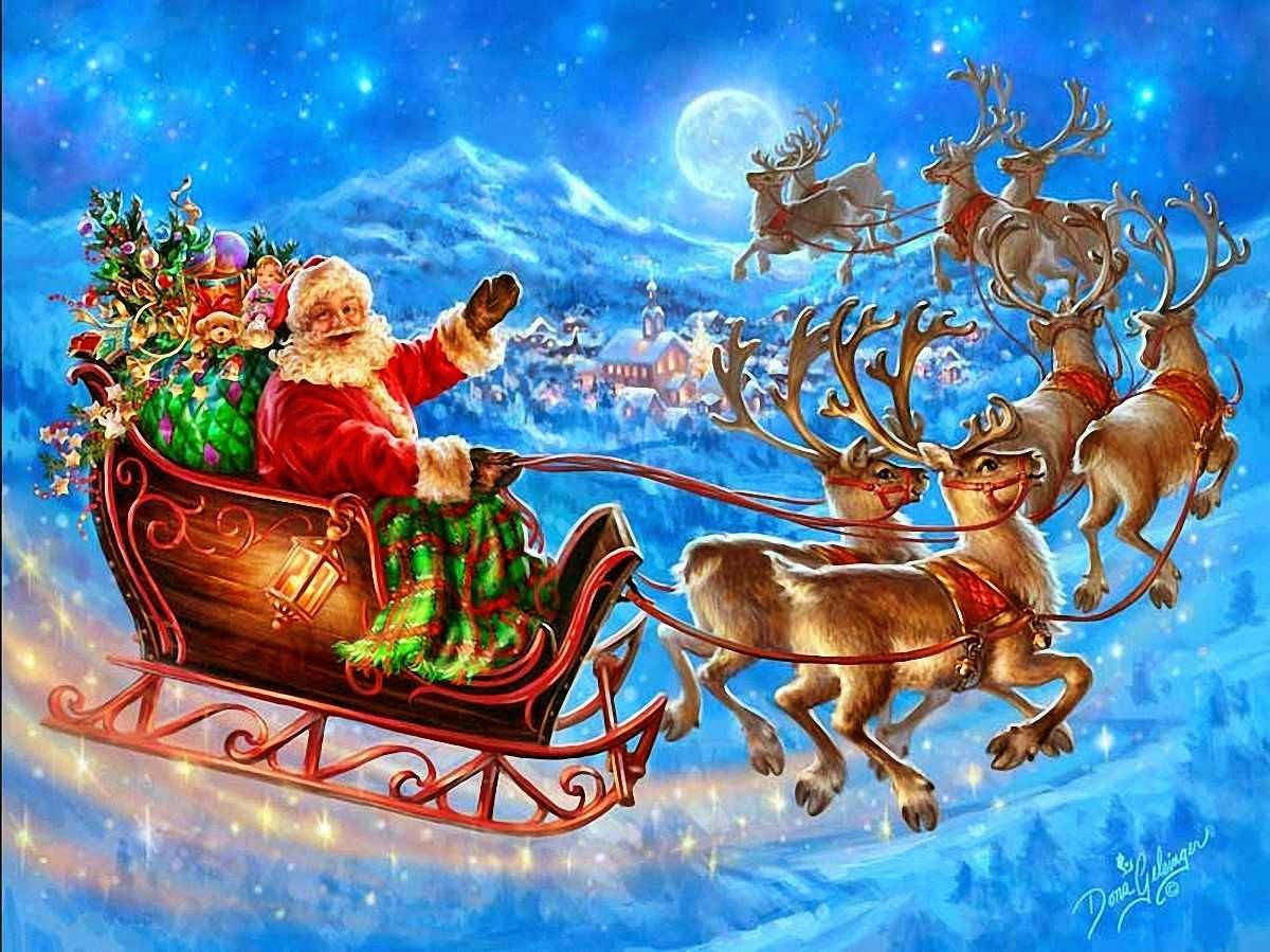 Santa Claus Come To Town In His Sleigh With Gifts Presents Image 1200x899 Jpg Cross Paintings Cross Stitch Horse Painting