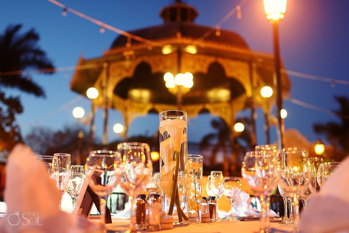 Riviera Maya Wedding At Iberostar Paraiso Lindo Gorgeous Table Set Up By The Gazebo Simple And Elegant Contact Us Www Grandturizmo