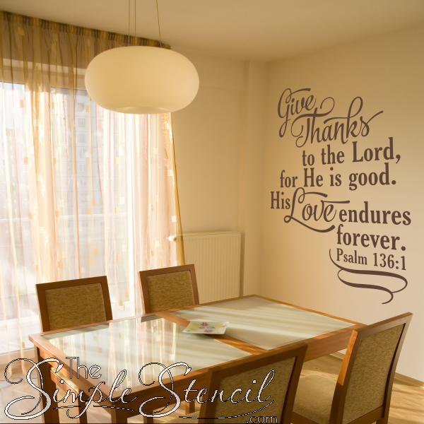 Bedroom Decor Psalm 136:1 wall decal love wall decal Home quote decal Home decor Bedroom Decal bible verse decal family wall decal