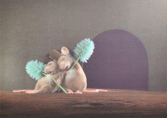 Postcard with my illustration on DaWanda #illustration #postcard #animals #mouse #zurkleinenmaus