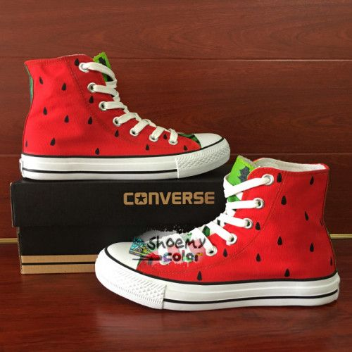 Hand Painted Converse Shoes Design Watermelon High Top Canvas Sneakers
