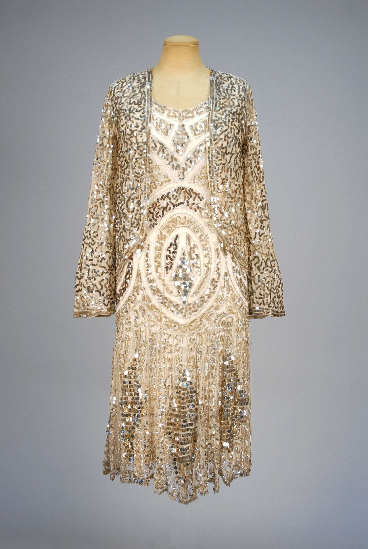 Ephemeral Elegance | Sequined Evening Dress and Jacket, ca. 1920s via...