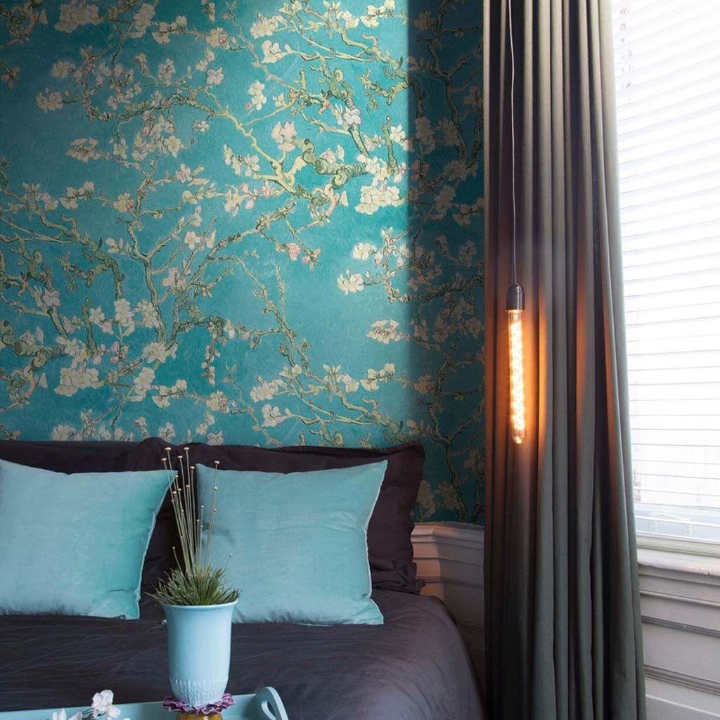 van gogh wallaper japanese style guest room wallpaper van gogh rh in pinterest com