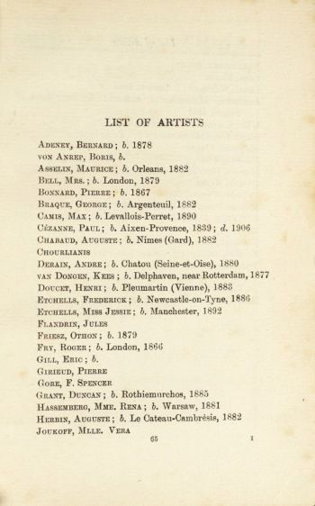 Exhibition Catalogue 'Second Post-Impressionist Exhibition', list of artists