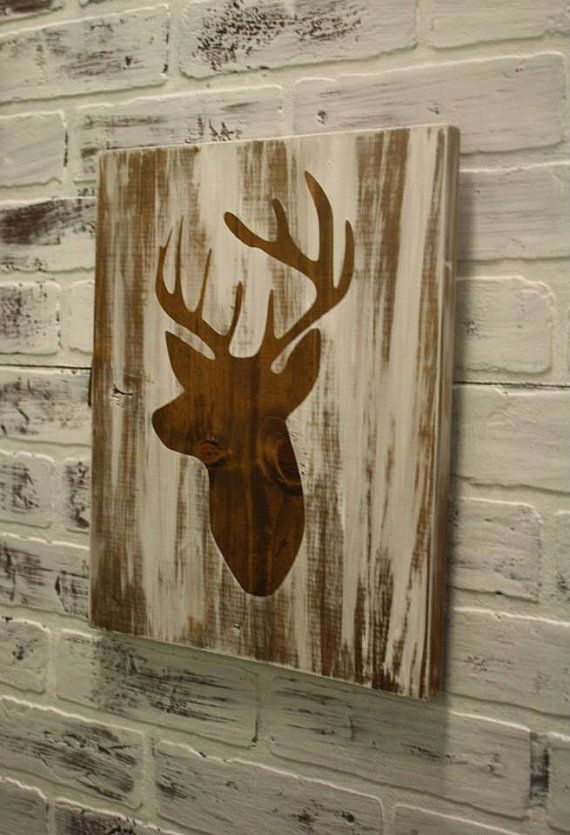 Custom Handmade Painted Wooden Sign With Deer Silhouette On It This Custom Sign Makes A Gift