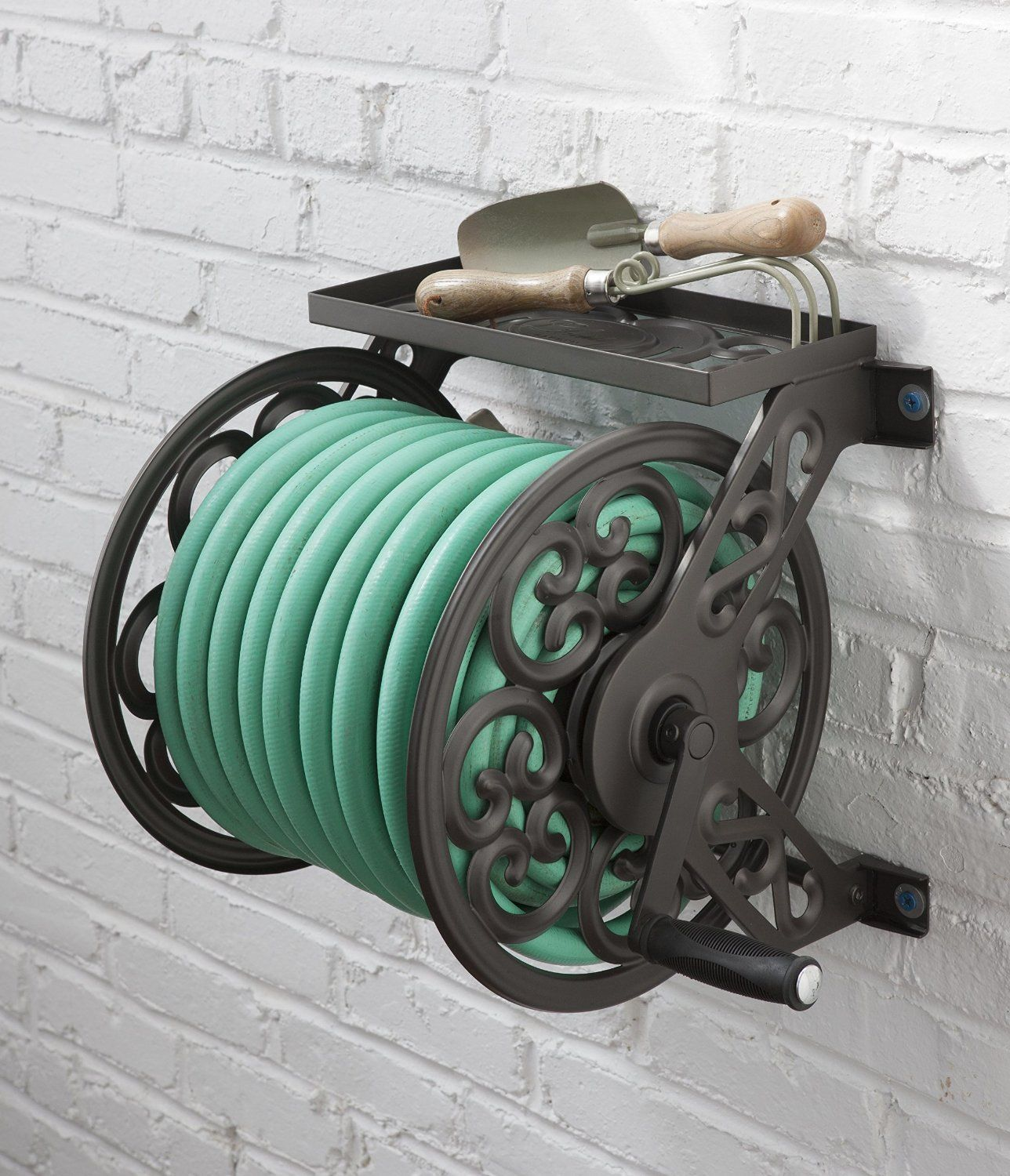 Ordinaire Liberty Garden Wall Mount Steel Decorative Hose Reel Garden Bronze With  Shelf