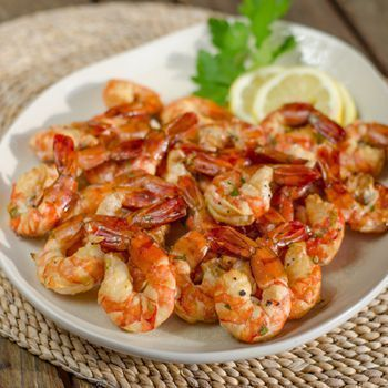Easy smoked shrimp with garlic herb butter. Paleo, gluten-free recipe.