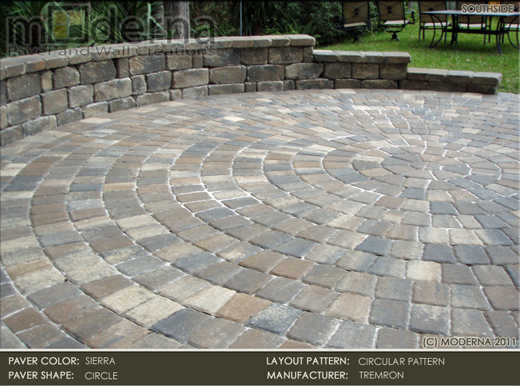 Pavers. Shown Here Is Tremron Circle Pavers In Sierra In