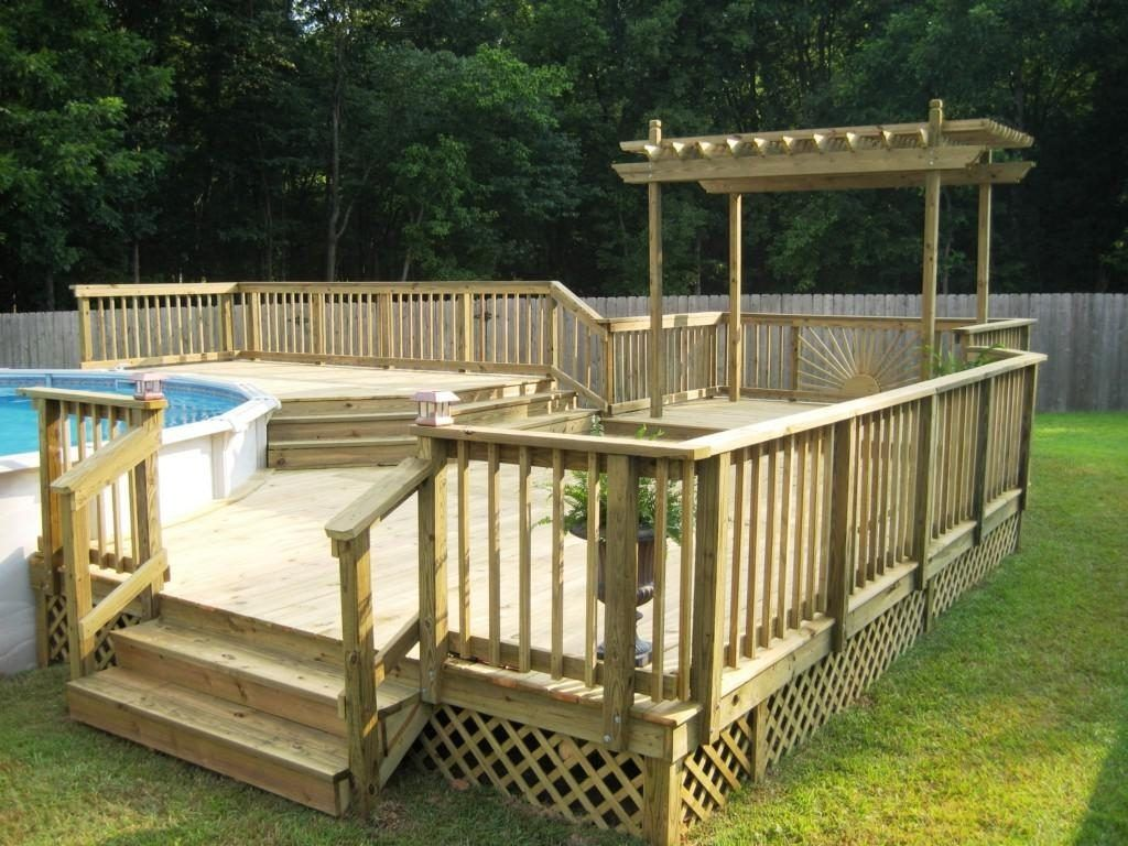 Pool Intex Pool With Deck Above Ground Pool Deck Plans Pallet