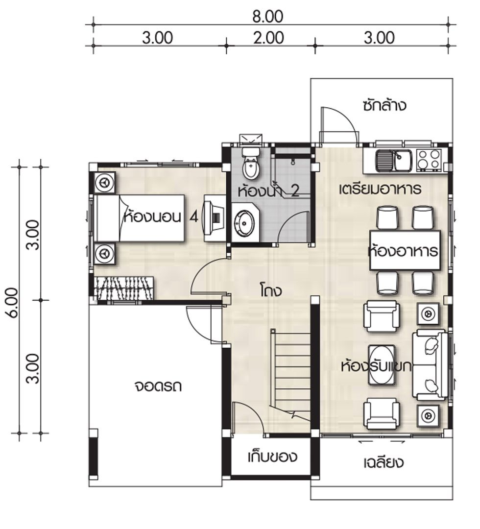 small house plans 8x6m with 4 bedrooms with images