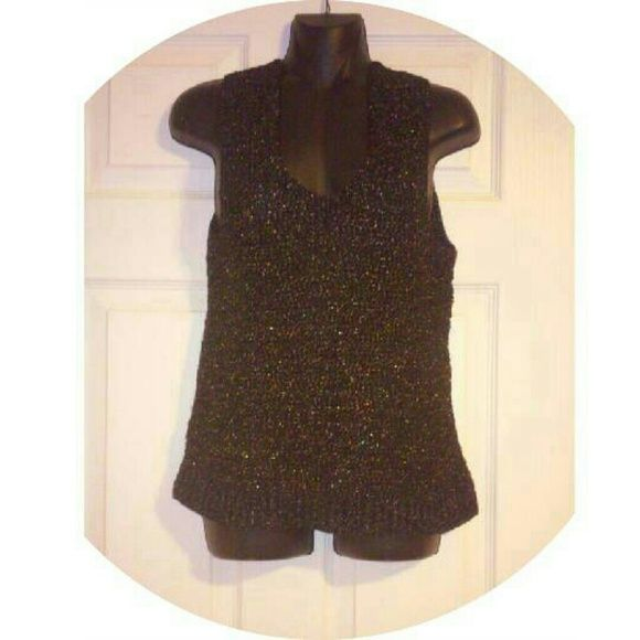 Black and Gold Thread Tank Top Awesome condition, soft.  Vintage Tops Tank Tops
