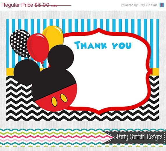 On Sale Mickey Mouse Thank You Cards 2 Color Choices Birthday