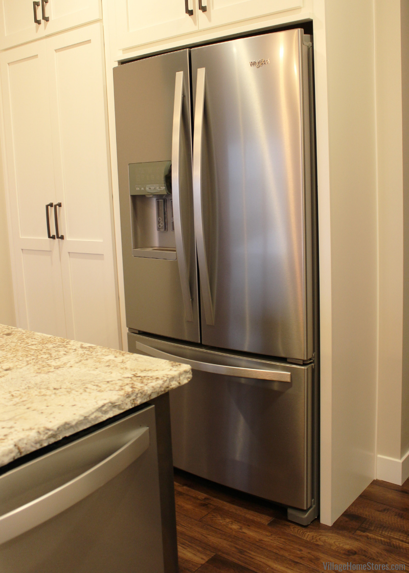 A Standard Depth Refrigerator Recessed Into The Wall For A Built In Look Village Home Stores Blog Kitchen Pantry Design Kitchen Room Built In Refrigerator