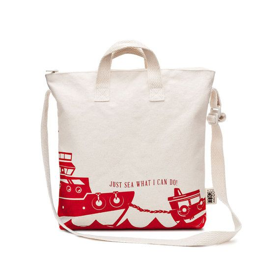 Cotton Canvas Boat Tote Bag Kids, Gift for Kids, Reusable Bag, Library Bag, Girl's Tote Bag, Crossbody Purse, Daycare Bag, Preschool Bag