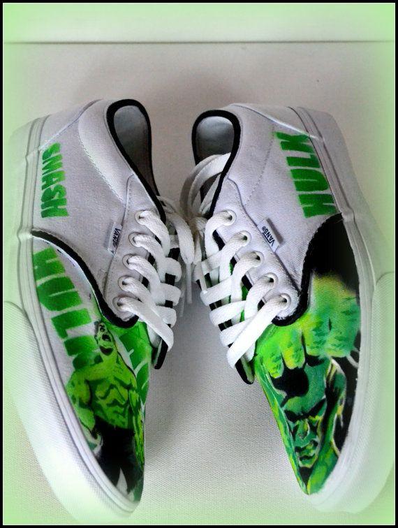 c457fc161e7f5 Painted Mens Shoes (Generic/Vans/Converse) Hulk Vans pictured: Shoes ...