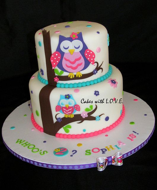 Wondrous Owl Blossom Cake By Cakes With L O V E Via Flickr Owl Cake Funny Birthday Cards Online Alyptdamsfinfo