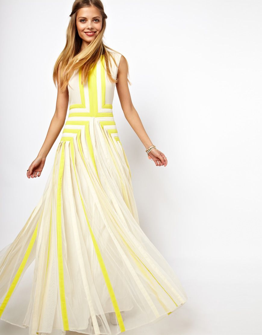 ASOS | ASOS SALON Applique Stripe Maxi Dress at ASOS