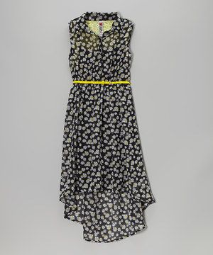 Look at this #zulilyfind! Beautees Black Daisy Belted Hi-Low Dress by Beautees #zulilyfinds
